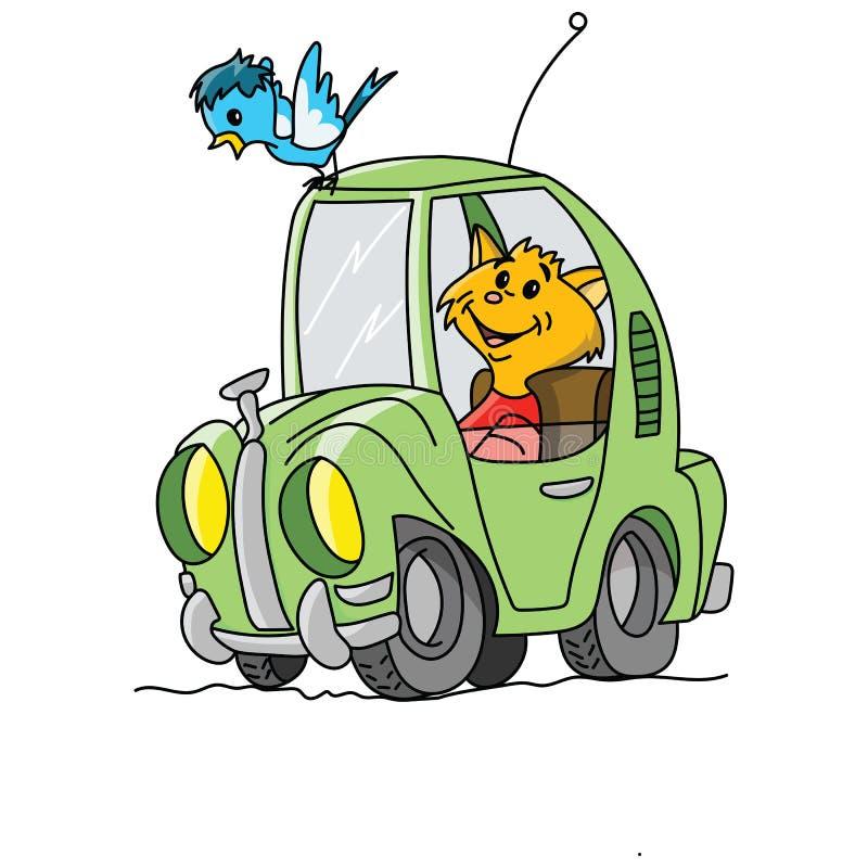 Gatto giallo del fumetto che determina un retro vettore verde dell'automobile illustrazione di stock