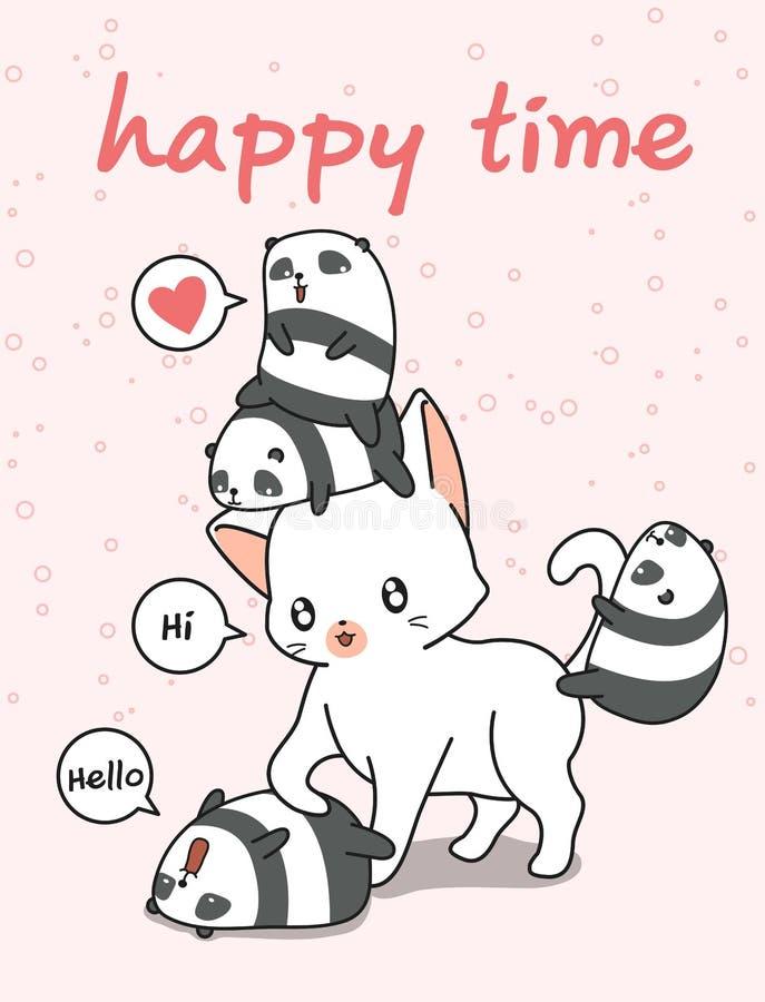 Gatto gigante e piccoli panda illustrazione di stock