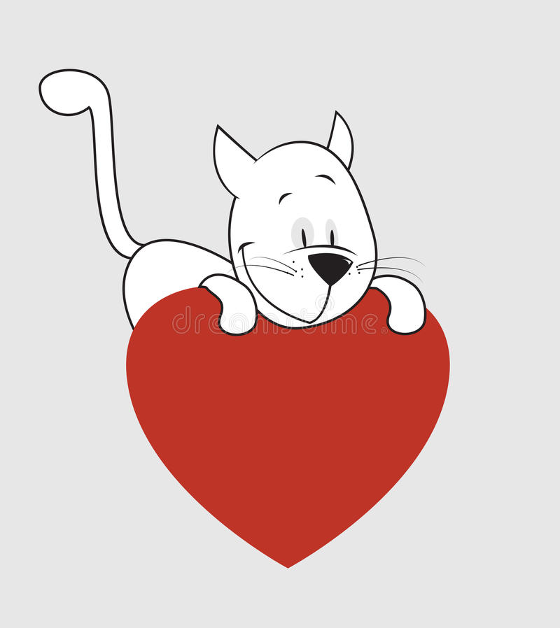 Gatto. Giorno del biglietto di S. Valentino royalty illustrazione gratis