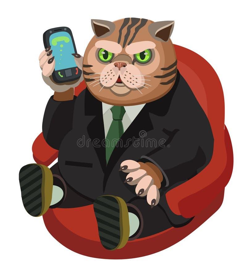 Gatto grasso che parla su un telefono cellulare royalty illustrazione gratis