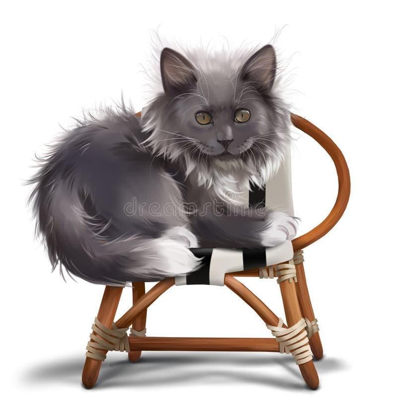 Gatto grigio lanuginoso che si siede su una sedia Pittura dell'acquerello illustrazione di stock