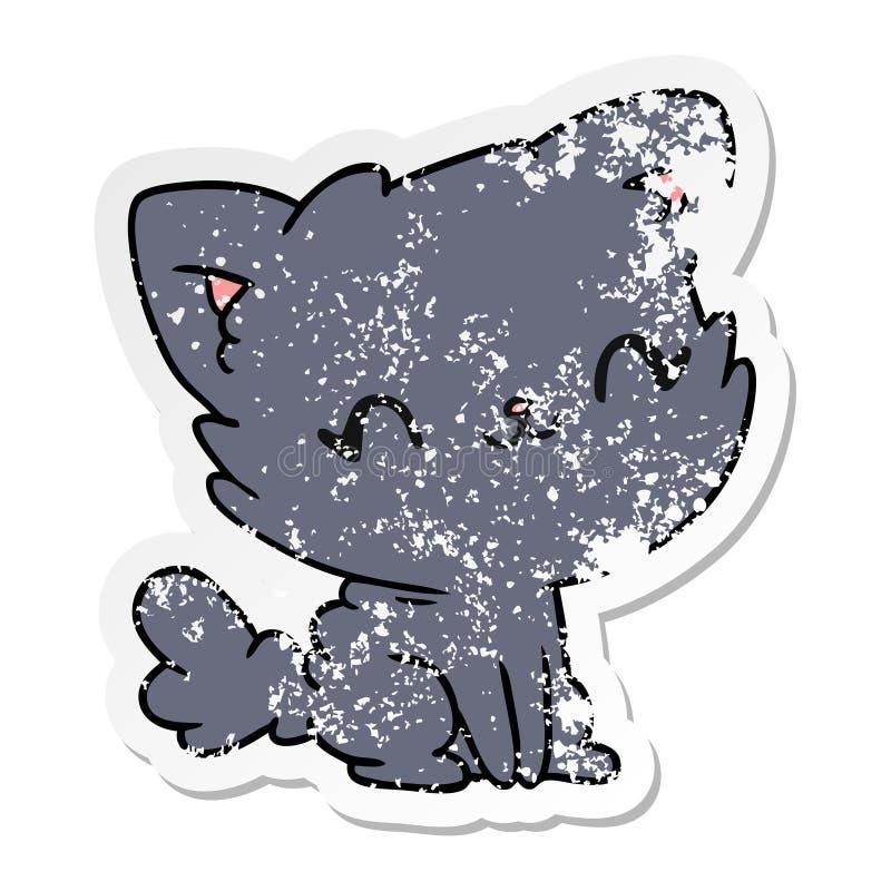 gatto lanuginoso afflitto di kawaii sveglio del fumetto dell'autoadesivo royalty illustrazione gratis