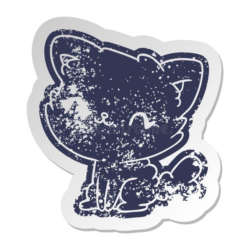 gatto lanuginoso afflitto di vecchio kawaii sveglio dell'autoadesivo illustrazione vettoriale