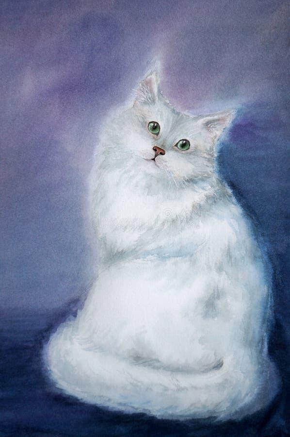 Gatto lanuginoso bianco illustrazione vettoriale