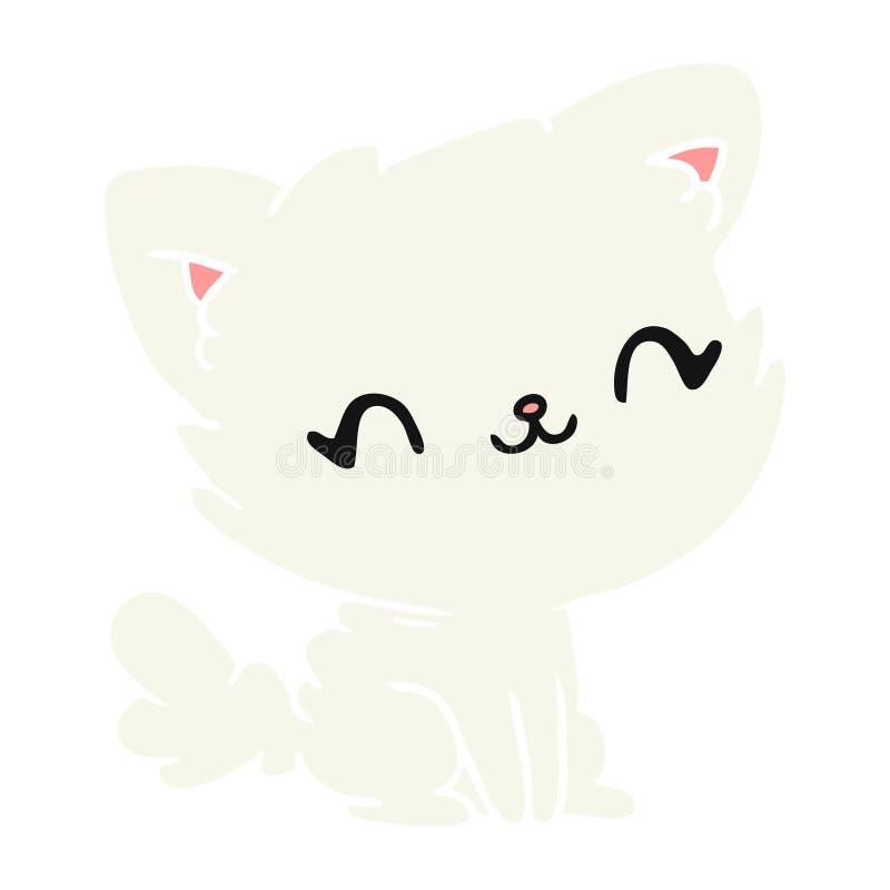 gatto lanuginoso di kawaii sveglio del fumetto illustrazione vettoriale