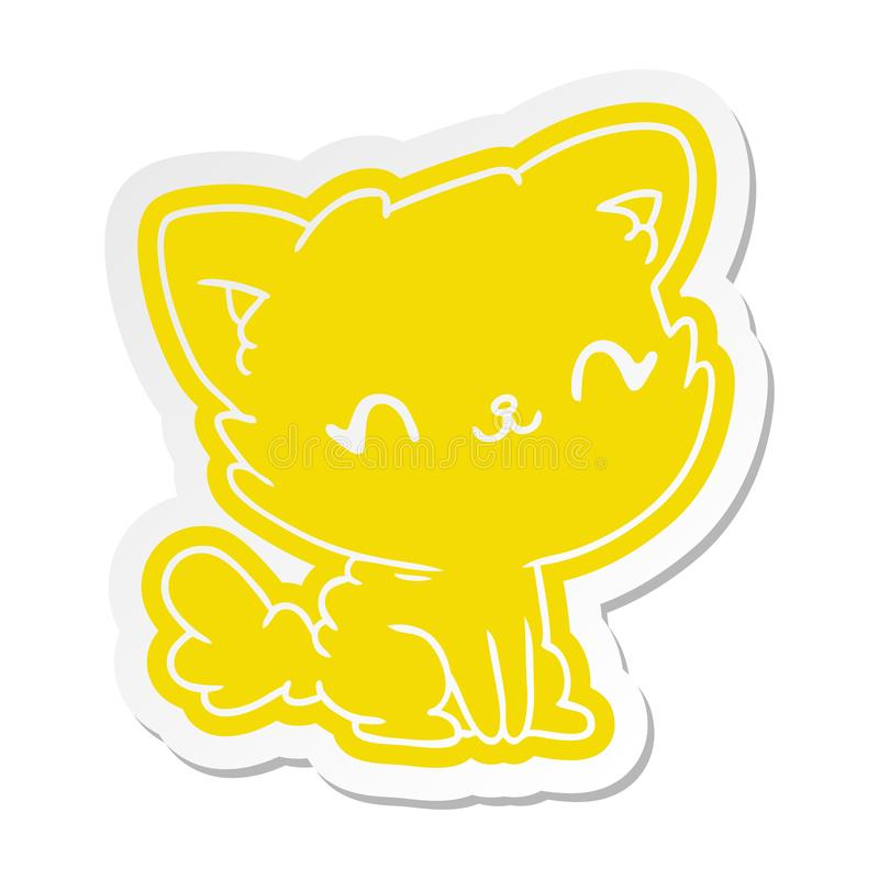 gatto lanuginoso di kawaii sveglio dell'autoadesivo del fumetto royalty illustrazione gratis