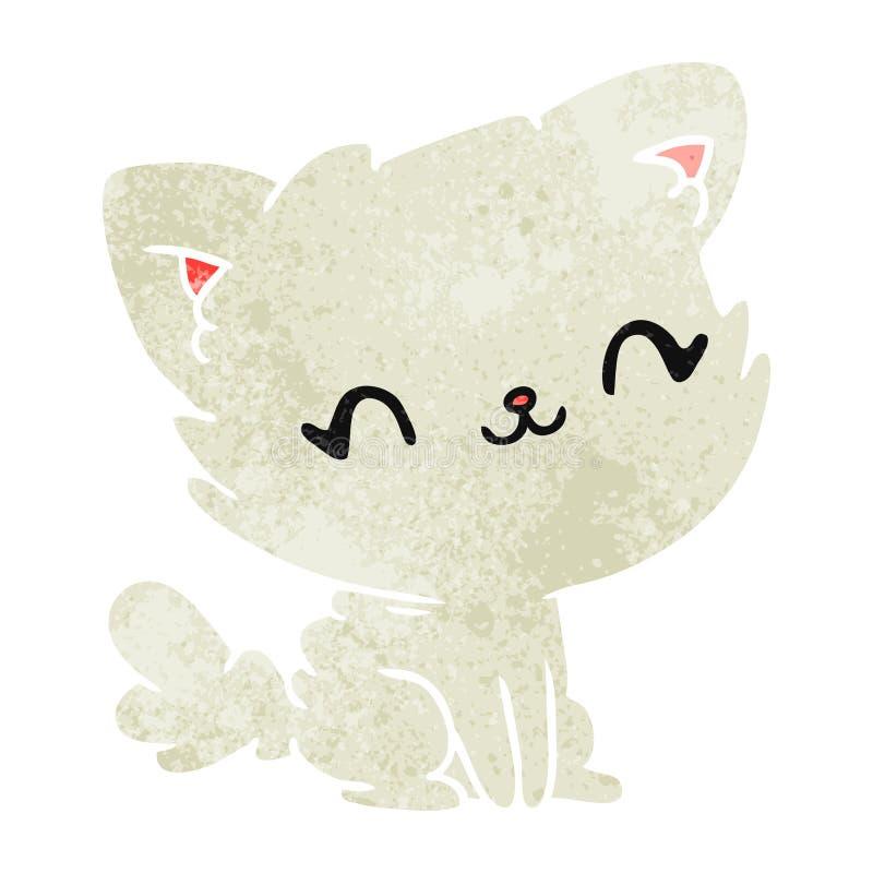 gatto lanuginoso di retro kawaii sveglio del fumetto illustrazione vettoriale