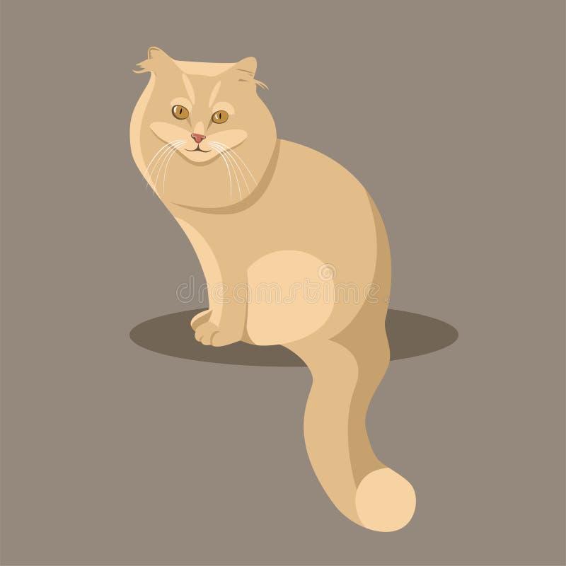 Gatto lanuginoso rosso di seduta su un fondo marrone royalty illustrazione gratis