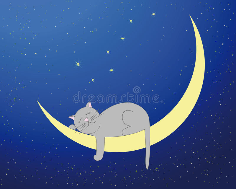 Gatto lunare royalty illustrazione gratis