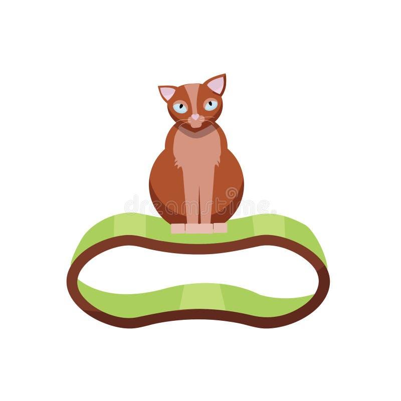 Gatto marrone divertente che si siede sulla roba piena di fruscii Chaise-lounge accessoria di Cat With, graffiante giocattolo Ill royalty illustrazione gratis
