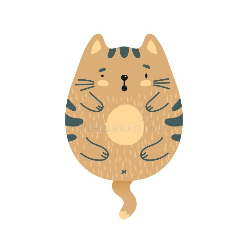 Gatto marrone sorpreso scarabocchio illustrazione vettoriale