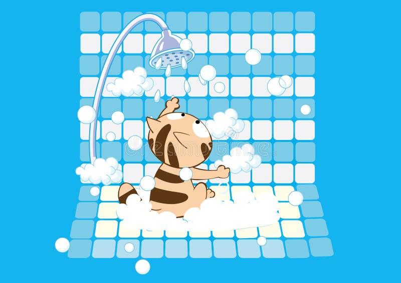 Gatto molto sveglio che ha un bagno insaponato royalty illustrazione gratis