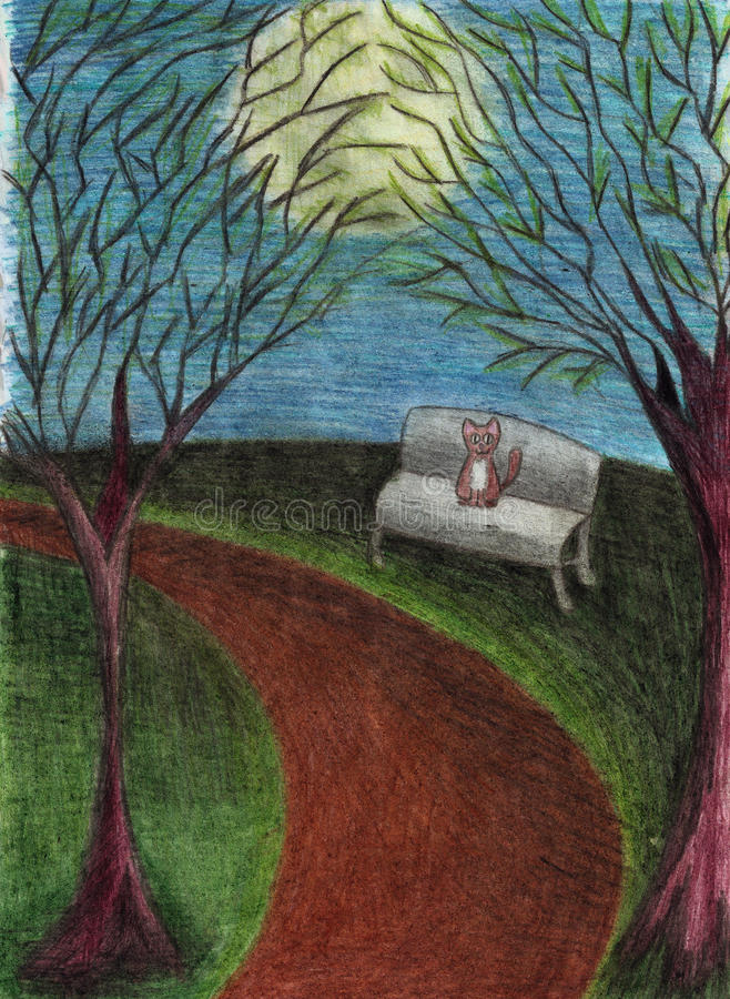 Gatto nel parco di notte, paesaggio con gli alberi, banco, percorso, luna piena, estratta con le matite colorate illustrazione vettoriale