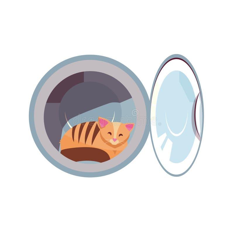 Gatto nel tamburo della lavatrice Il gatto accogliente è impertinente Kitty dentro l'illustrazione piana del fumetto della rondel illustrazione vettoriale