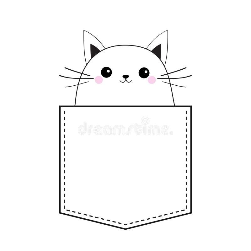 Gatto nella tasca Schizzo lineare di scarabocchio Guance rosa Animali svegli del fumetto Carattere del gattino del gattino Linea  royalty illustrazione gratis