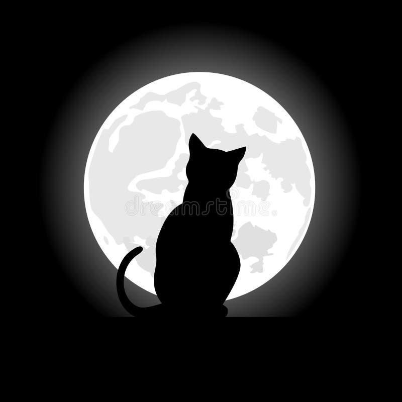 Gatto nero che si siede di fronte alla luna nella notte del Halloween illustrazione vettoriale