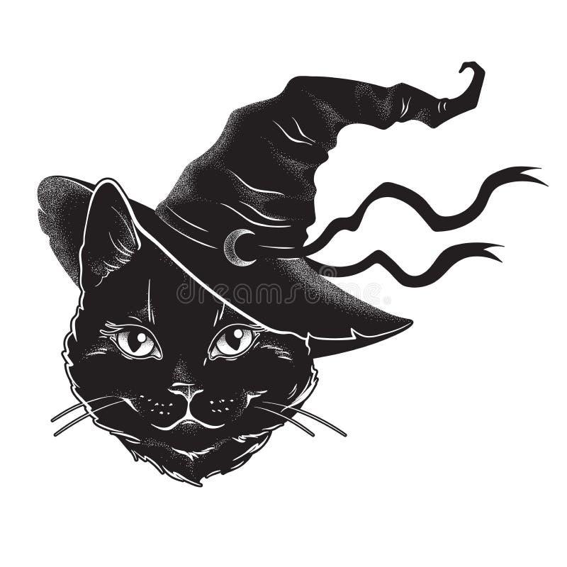 Gatto nero con la linea arte appuntita del cappello della strega ed il lavoro del punto Spirito esperto di Wiccan, Halloween o st illustrazione di stock