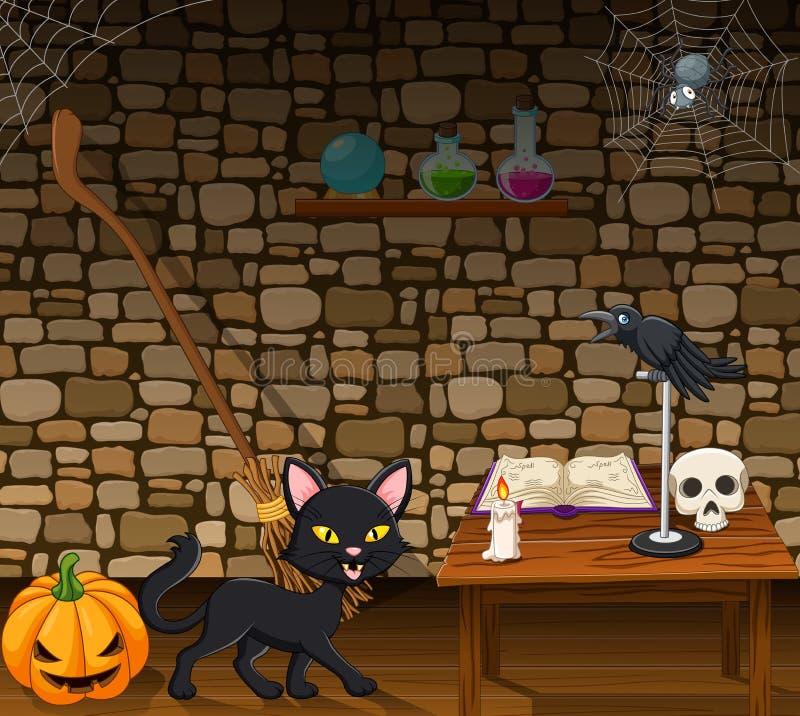 Gatto nero del fumetto nella casa della strega illustrazione vettoriale