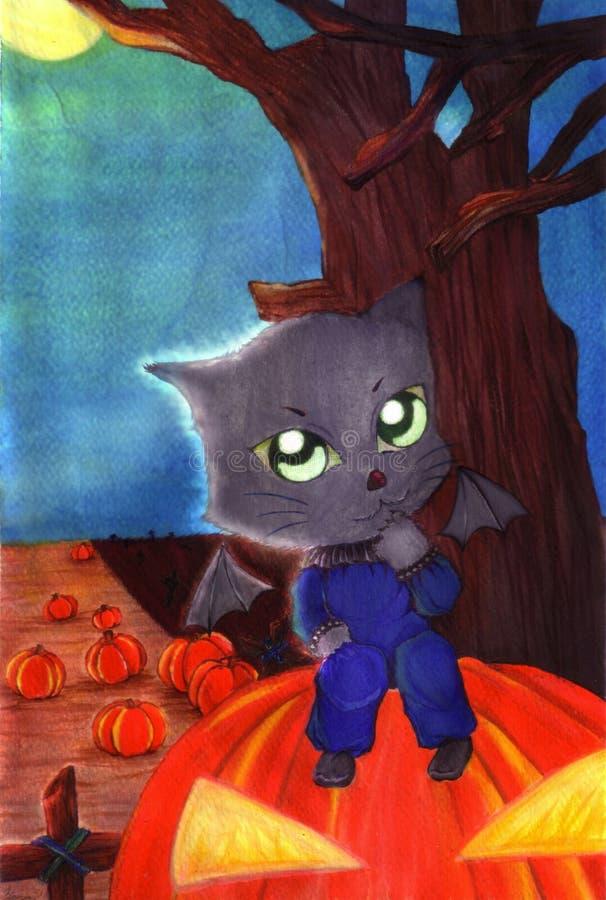 Gatto nero delle streghe che si siede sulla grande zucca arancio fotografie stock