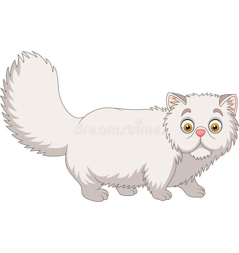 Gatto persiano del fumetto su fondo bianco illustrazione vettoriale