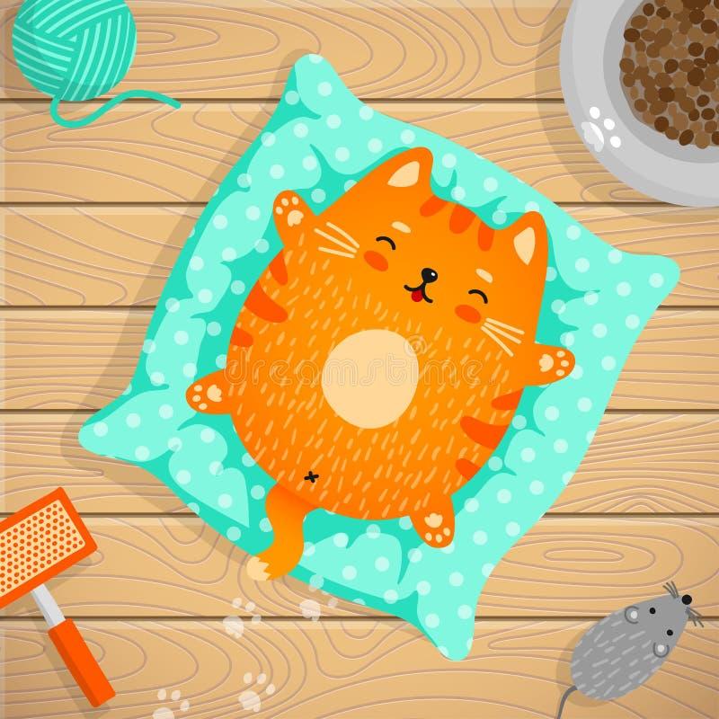 Gatto rosso che dorme sul cuscino a casa royalty illustrazione gratis