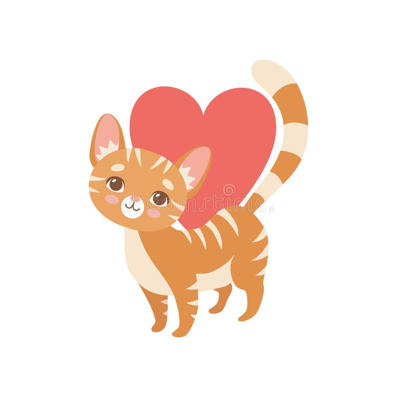 Gatto rosso divertente barrato con cuore rosso, illustrazione sveglia di Kitten Animal Pet Character Vector royalty illustrazione gratis