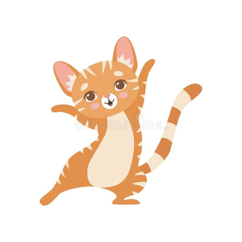 Gatto rosso divertente a strisce felice, Kitten Animal Pet Character Standing sveglia sull'illustrazione di vettore di due gambe royalty illustrazione gratis