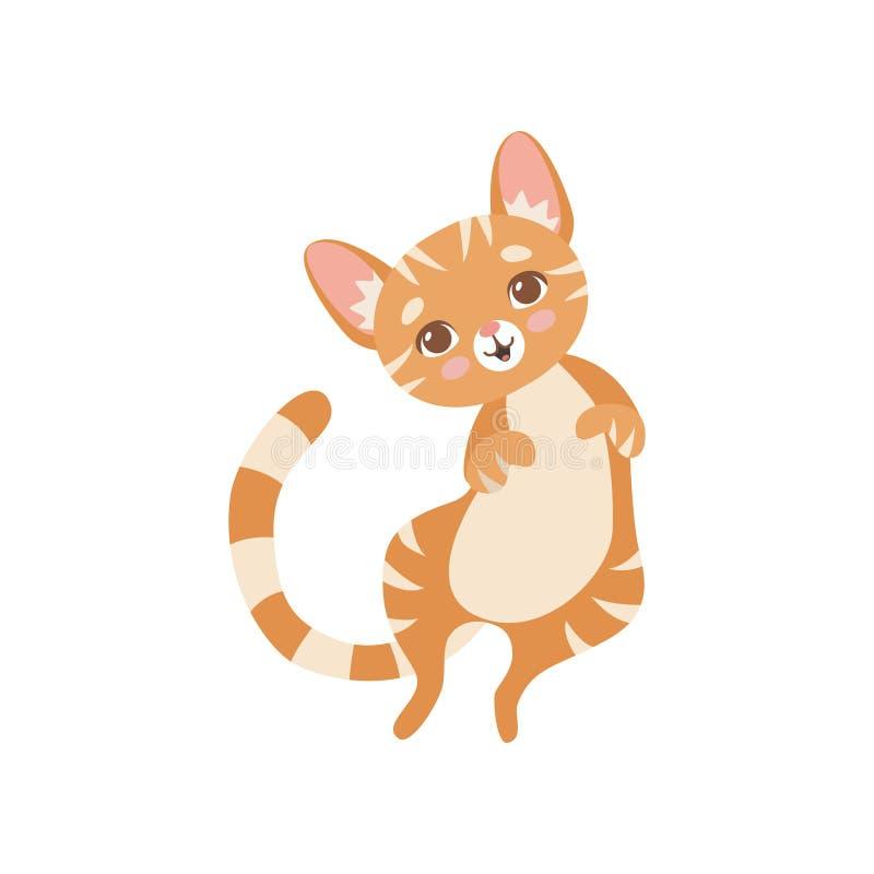 Gatto rosso divertente a strisce sveglio, illustrazione di Kitten Animal Pet Character Vector illustrazione vettoriale