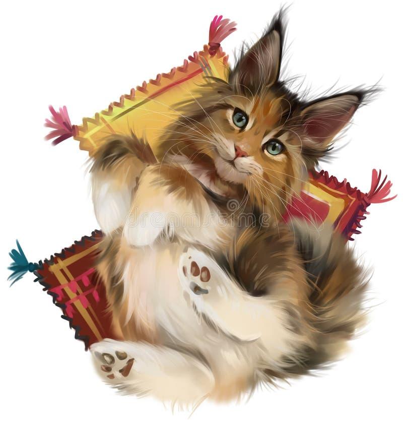 Gatto rosso lanuginoso che si trova sui cuscini Illustrazione dell'acquerello illustrazione di stock