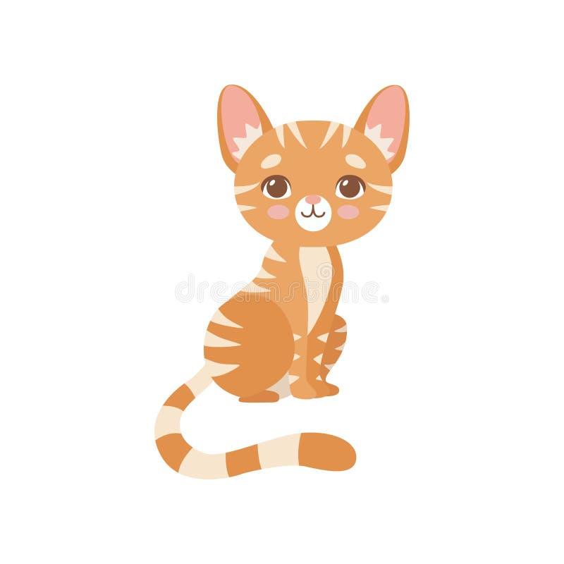 Gatto rosso a strisce adorabile, illustrazione sveglia di Kitten Animal Pet Character Vector illustrazione vettoriale