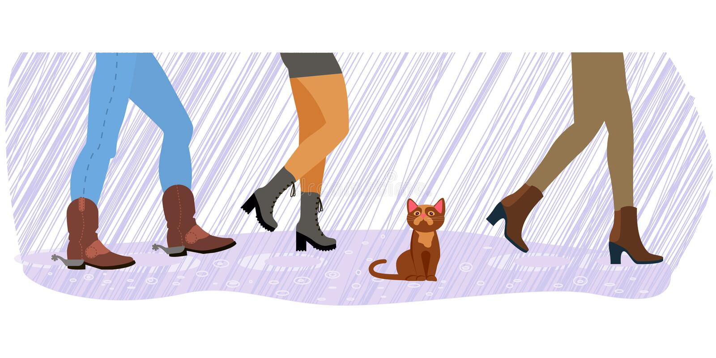 Gatto senza tetto fra i piedi royalty illustrazione gratis