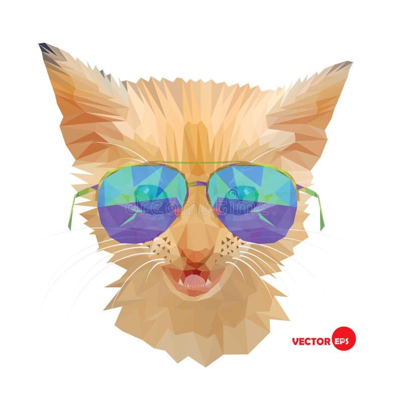 Gatto, sig. Gattino rosso in occhiali da sole, stile urbano di modo del ritratto del gatto dei pantaloni a vita bassa Schizzo div royalty illustrazione gratis