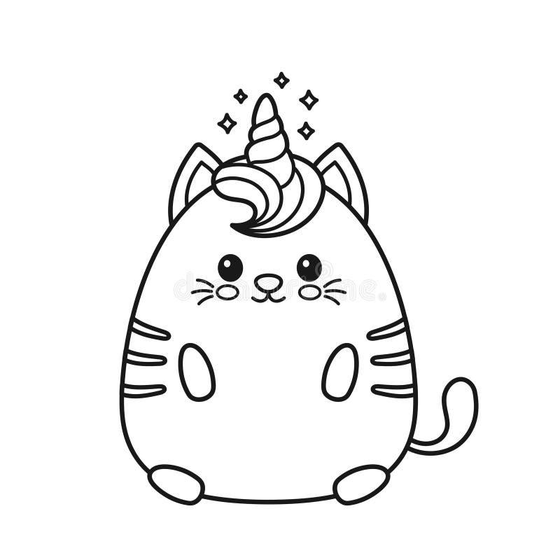 Gatto Sorridente Felice Sveglio Dell Unicorno Illustrazione