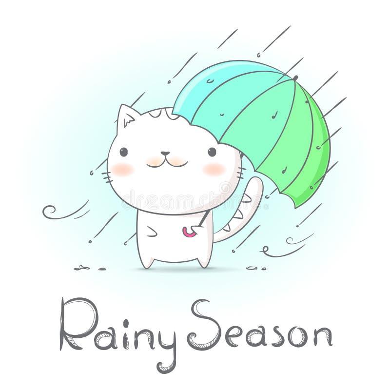 Gatto sotto l'ombrello e piovere nella stagione delle pioggie Lo stile di scarabocchio di tiraggio della mano crea dal vettore illustrazione vettoriale