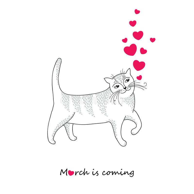 Gatto a strisce divertente con i cuori rossi isolati su fondo bianco Il concetto di marzo sta venendo nello stile di contorno illustrazione di stock