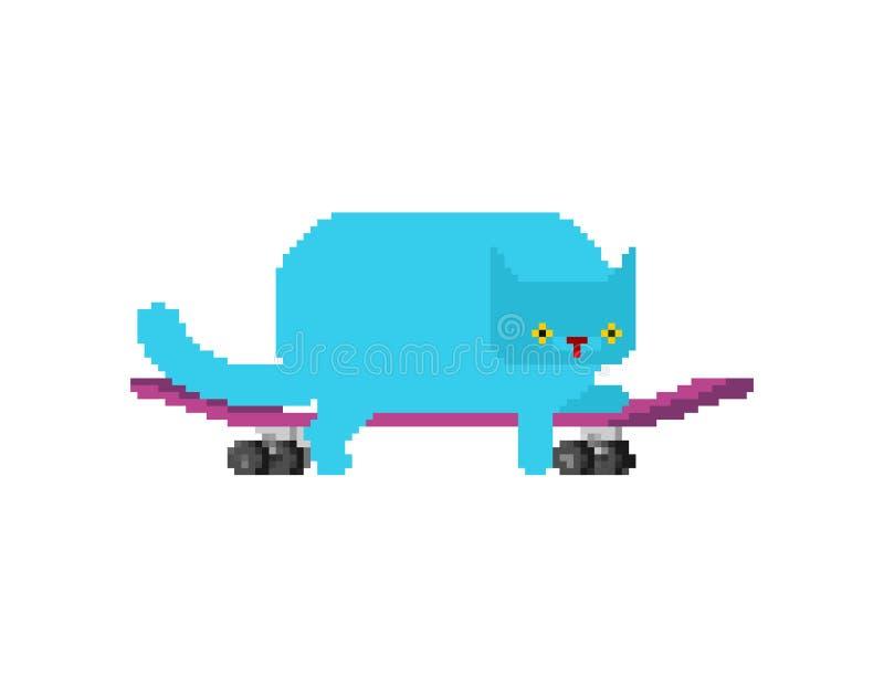 Gatto su arte del pixel del pattino L'animale domestico a bordo pixelated Grafici del gioco di Kitten Skateboarder Old illustrazi illustrazione di stock