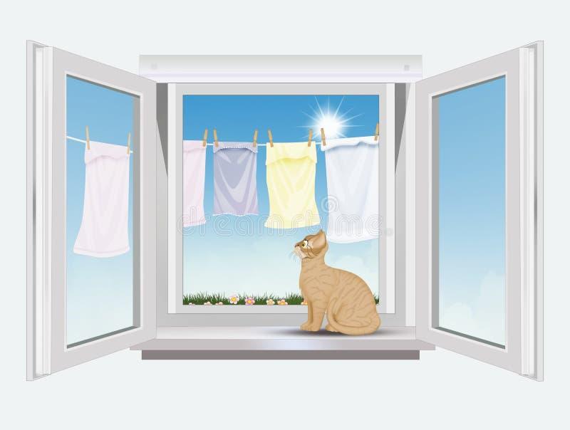 Gatto sugli sguardi della finestra all'attaccatura dei vestiti illustrazione di stock