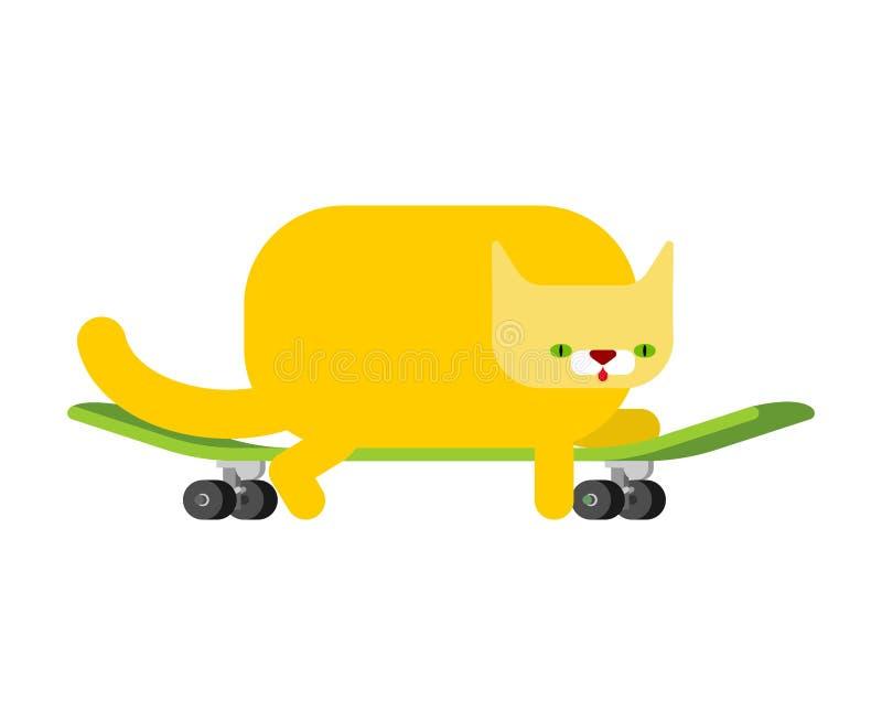 Gatto sul pattino animale domestico a bordo Kitten Skateboarder royalty illustrazione gratis