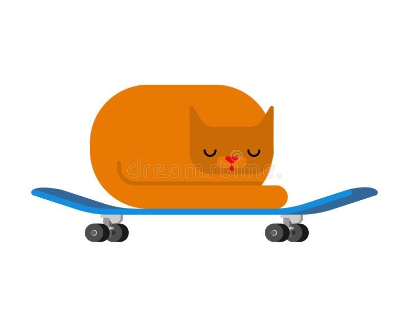 Gatto sul pattino animale domestico a bordo Kitten Skateboarder illustrazione di stock