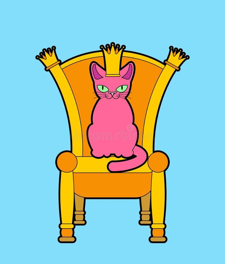 Gatto sul trono Capo regale dell'animale domestico Sedia reale Illustrazione di vettore royalty illustrazione gratis