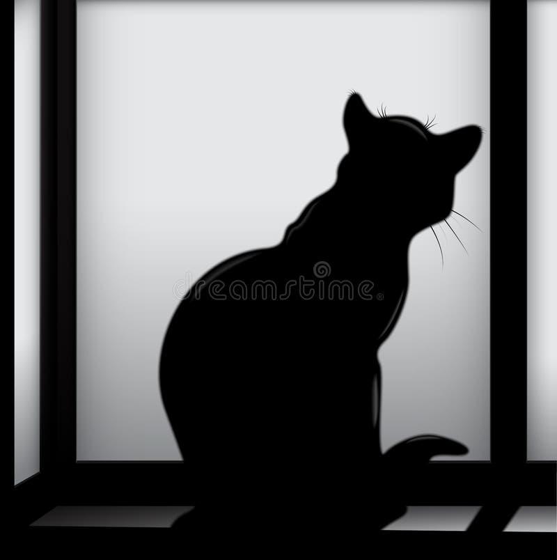 Gatto sulla finestra illustrazione di stock