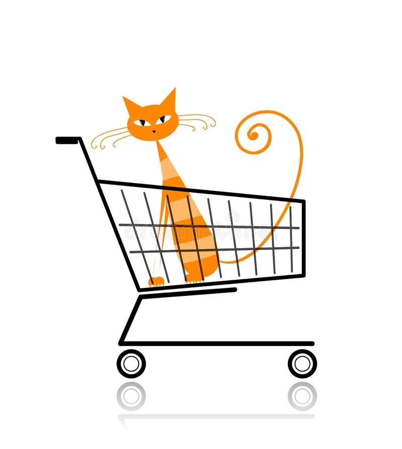 Gatto sveglio in carrello di acquisto per il vostro disegno illustrazione vettoriale