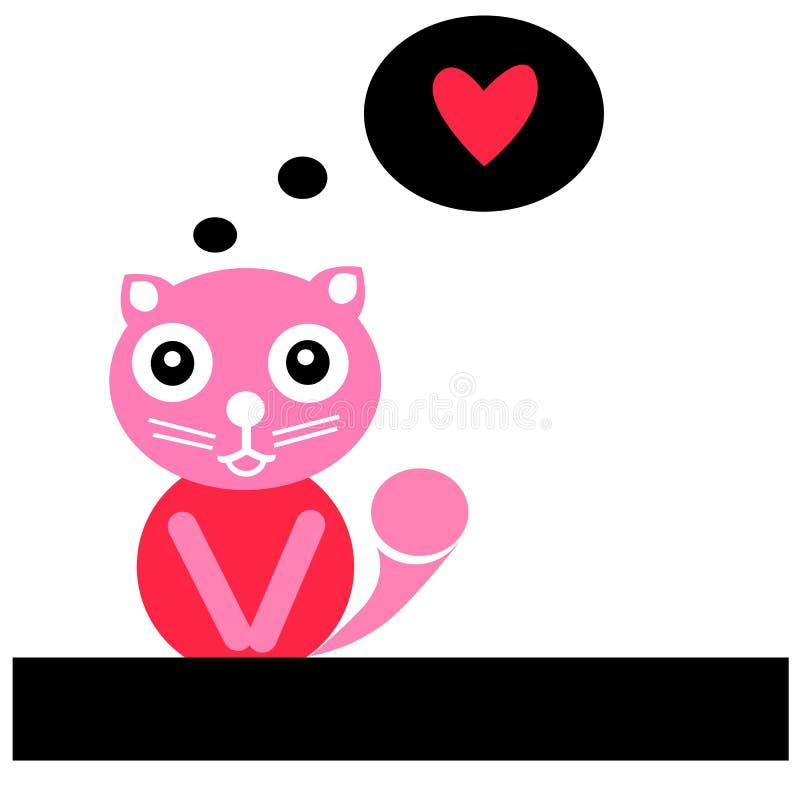 Gatto sveglio con cuore rosso ENV 10 illustrazione di stock