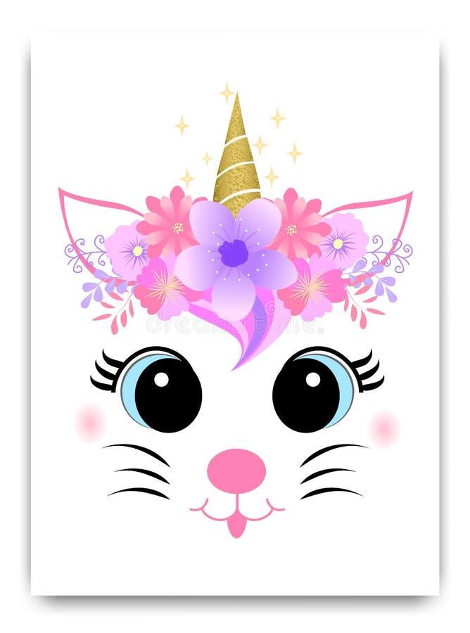 Gatto sveglio con il corno ed i fiori illustrazione vettoriale