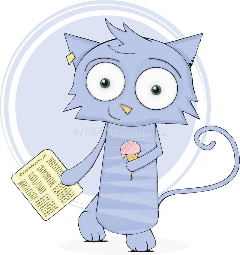 Gatto sveglio con il giornale ed il gelato illustrazione vettoriale