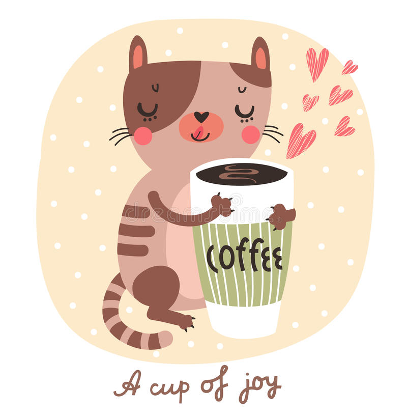 Gatto sveglio con una tazza di caffè royalty illustrazione gratis