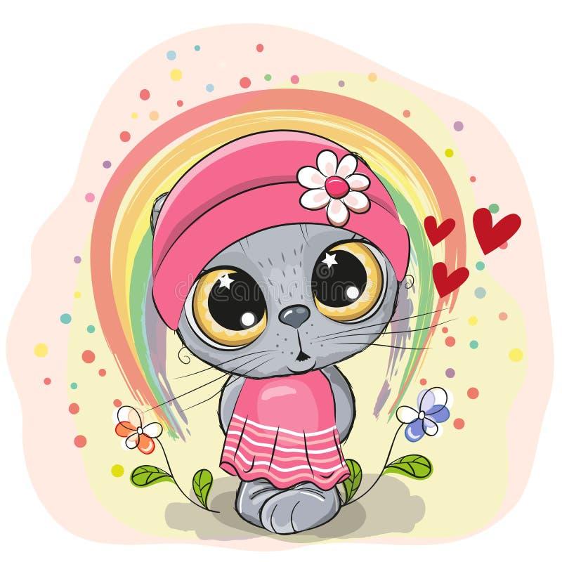 Gatto sveglio del fumetto con l'arcobaleno royalty illustrazione gratis