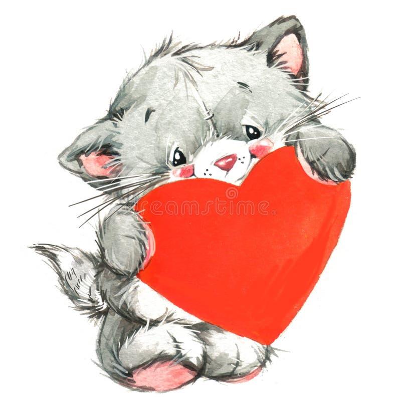 Gatto sveglio di Valentine Dayand e cuore rosso watercolor illustrazione vettoriale
