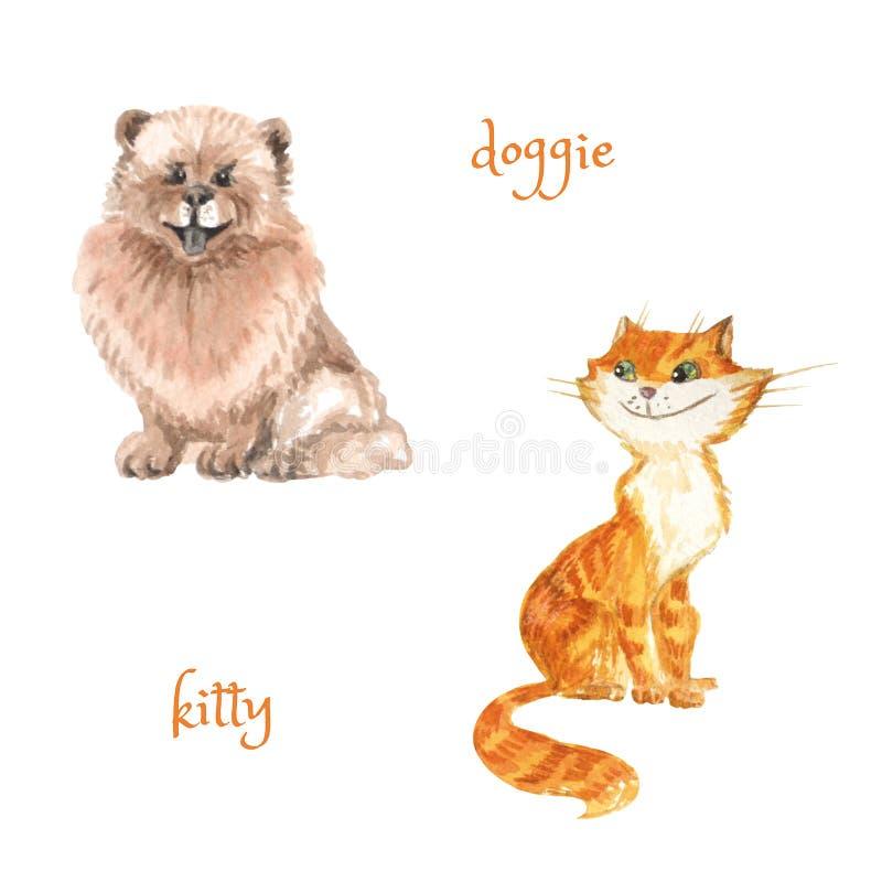 Gatto sveglio e cane del fumetto isolati su bianco Illustrazione dell'acquerello illustrazione di stock