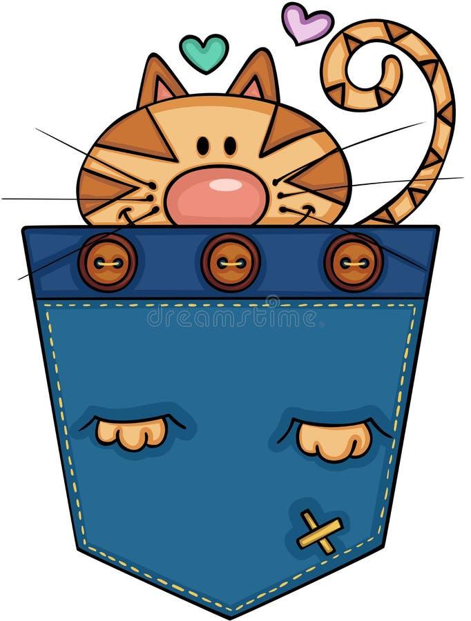 Gatto sveglio nella tasca illustrazione di stock